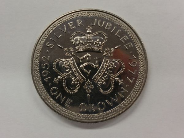 IOM 1977 Silver Jubilee Crowns set of 2