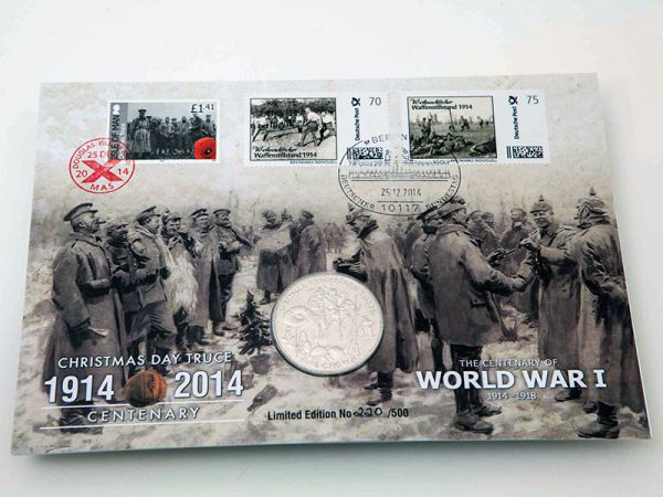 Isle of Man 1914 WW1 Christmas Truce Stamp and Coin Cover