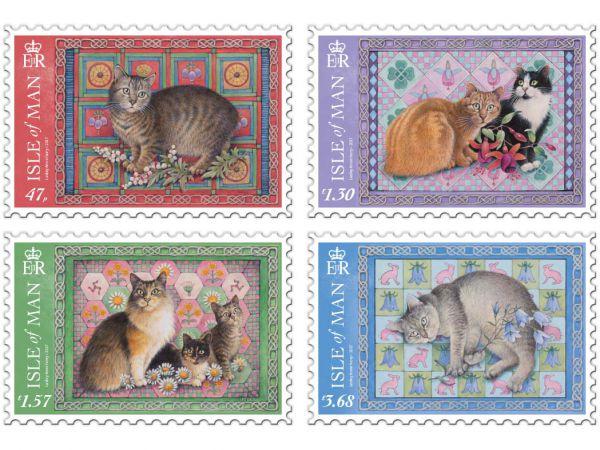马恩岛10月10日发行马恩岛猫邮票