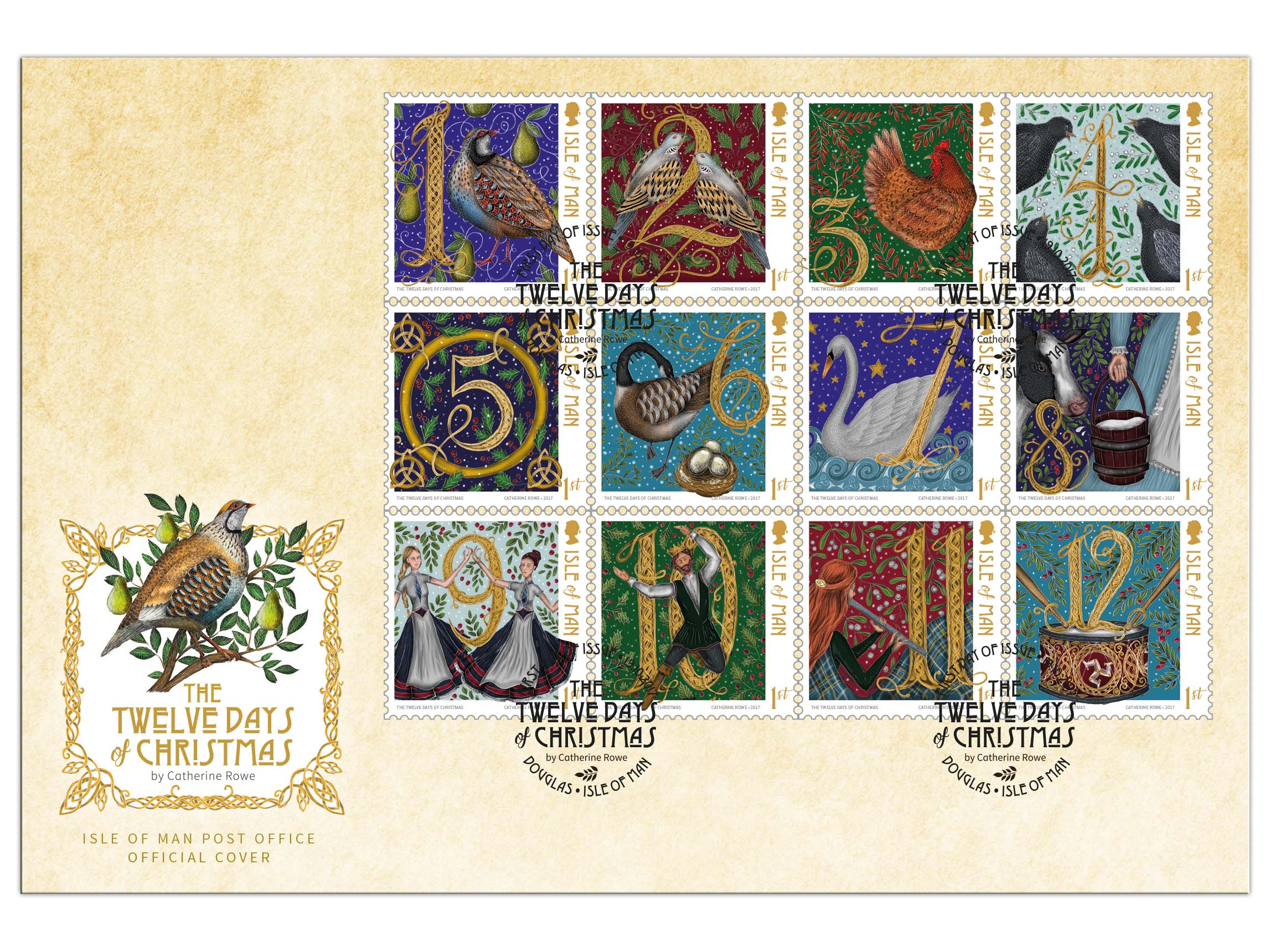 twelve days of christmas by catherine rowe first day cover
