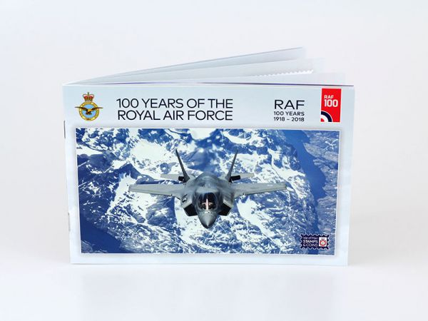 This RAF100 prestige full colour 24 page booklet contains two sets of self  adhesive 100 Years of the Royal Air Force stamps. It also features  additional ... 7739ba630ad8