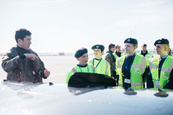 Flight LT Max McNamara ansering some questions from the RAF Air Cadets