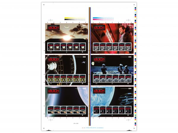 2001: A Space Odyssey Printers Imperforate Uncut Stamp Sheet (Set values)