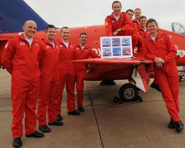 Isle of Man Stamps and Coins and the Red Arrows celebrate the 50th display season with a set of six stamps
