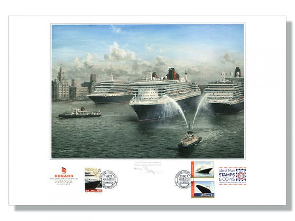 Cunard 175th Anniversary – Three Queens Meeting Signed Print