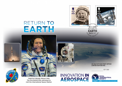British Astronaut Tim Peake to return from space with signed Royal Aeronautical Society/Isle of Man Post Office special 150th Anniversary stamp covers