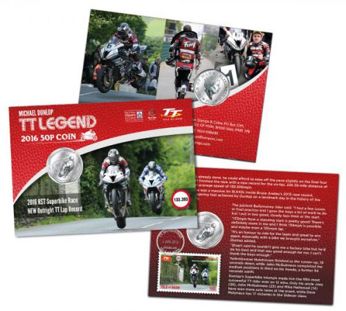 Michael Dunlop Special Gift Pack Isle of Man TT Legends 2016 50p Coin