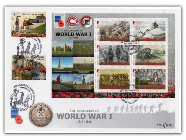 Battle of the Somme Commemorative Envelope with La Poste Stamps and Postmark