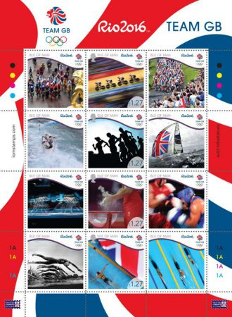 Team GB Rio 2016 Olympics Label Sheetlet