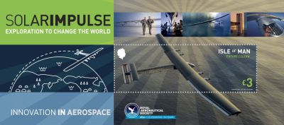 Isle of Man Post Office celebrates the record-breaking achievement of Solar Impulse 2 with a collectible miniature sheet