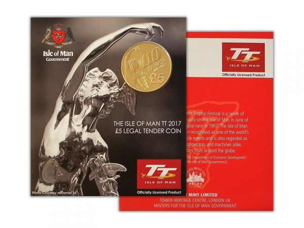 2017 Isle of Man TT Races Senior Trophy £5 Alpaca Coin in a Gift Pack