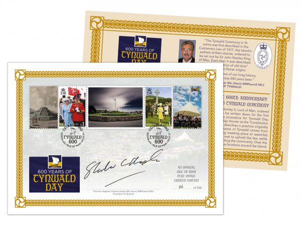 Tynwald 600 Special Cover Signed by Tynwald President Steve Rodan