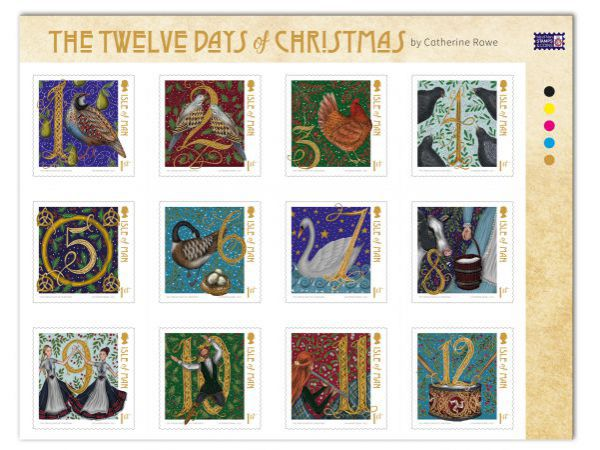 Twelve Days of Christmas Self Adhesive Set and Sheet