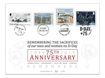 Commemorative D-Day Joint Cover to be issued by Gibraltar, Guernsey, Jersey and the Isle of Man