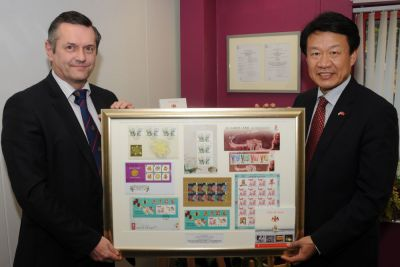 Consul General Li of the People's Republic of China takes Isle of Man Postal Headquarters tour