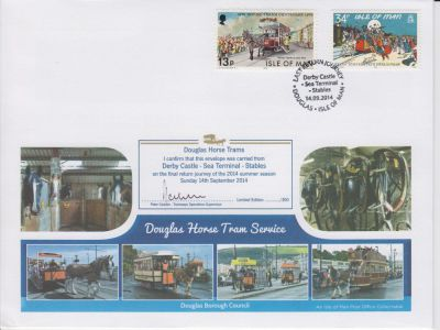 Limited edition postmark cover commemorates final return journey of 2014 for the Douglas Horse Trams
