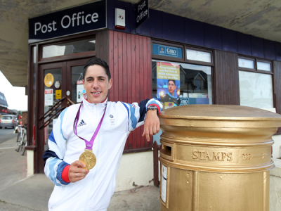 Post Office celebrates Peter Kennaugh's Olympic win with a gold post box