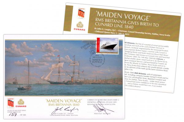 Cunard Line's 175 Anniversary Crossing signed covers