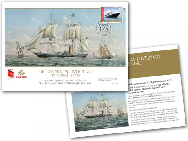 Cunard Line's 175 Anniversary Crossing: Britannia in Liverpool Special Cover