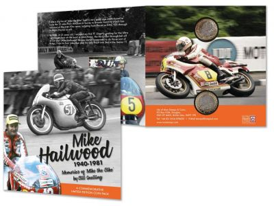 Isle of Man Post Office to present Mike Hailwood's wife with commemorative coin pack numbers 40 and 60 to mark special anniversary year.