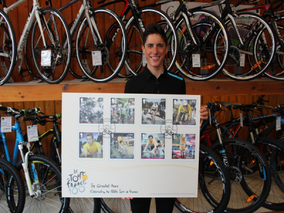 Team Sky's Peter Kennaugh MBE receives Tour de France Edition 100 stamps