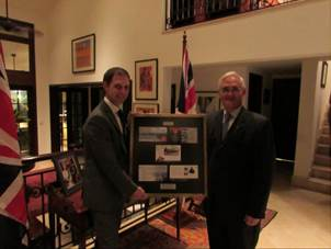 Framed set of Panama Canal stamps presented to Chief Executive Officer of Panama Canal Authority to mark centenary