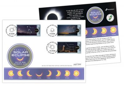 Isle of Man Post Office issue special postmark cover and align with Onchan School and Astronaut Alan Bean to mark solar eclipse